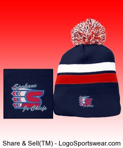 Pom Pom Beanie Red/White/Navy Design Zoom